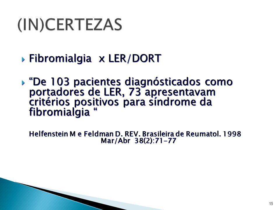(IN)CERTEZAS Fibromialgia x LER/DORT