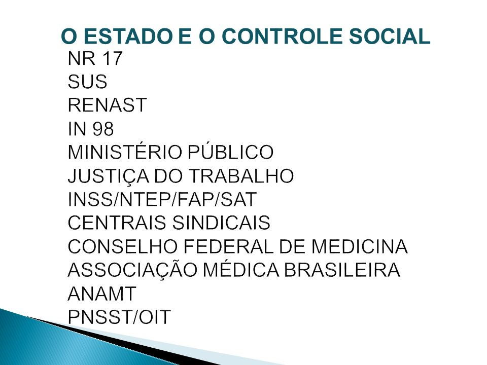 O ESTADO E O CONTROLE SOCIAL