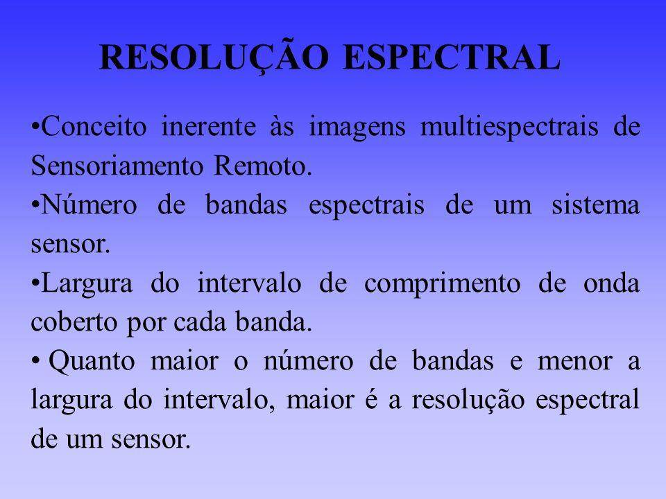 RESOLUÇÃO ESPECTRAL Conceito inerente às imagens multiespectrais de Sensoriamento Remoto. Número de bandas espectrais de um sistema sensor.
