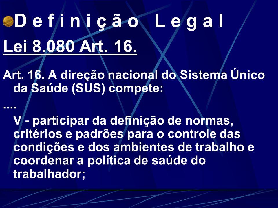 D e f i n i ç ã o L e g a l Lei 8.080 Art. 16.