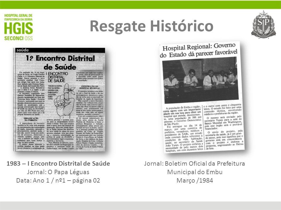 Movimento Pró Hospitais Regional 1983 – I Encontro Distrital de Saúde