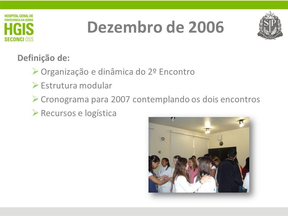 Dezembro de 2006 Definição de: Organização e dinâmica do 2º Encontro