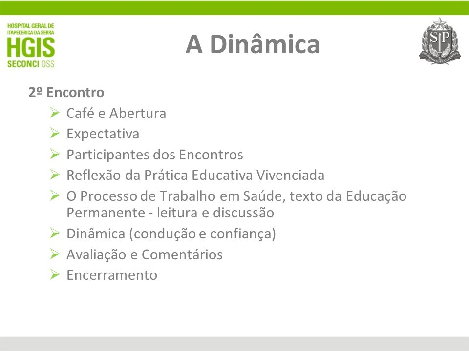 A Dinâmica 2º Encontro Café e Abertura Expectativa