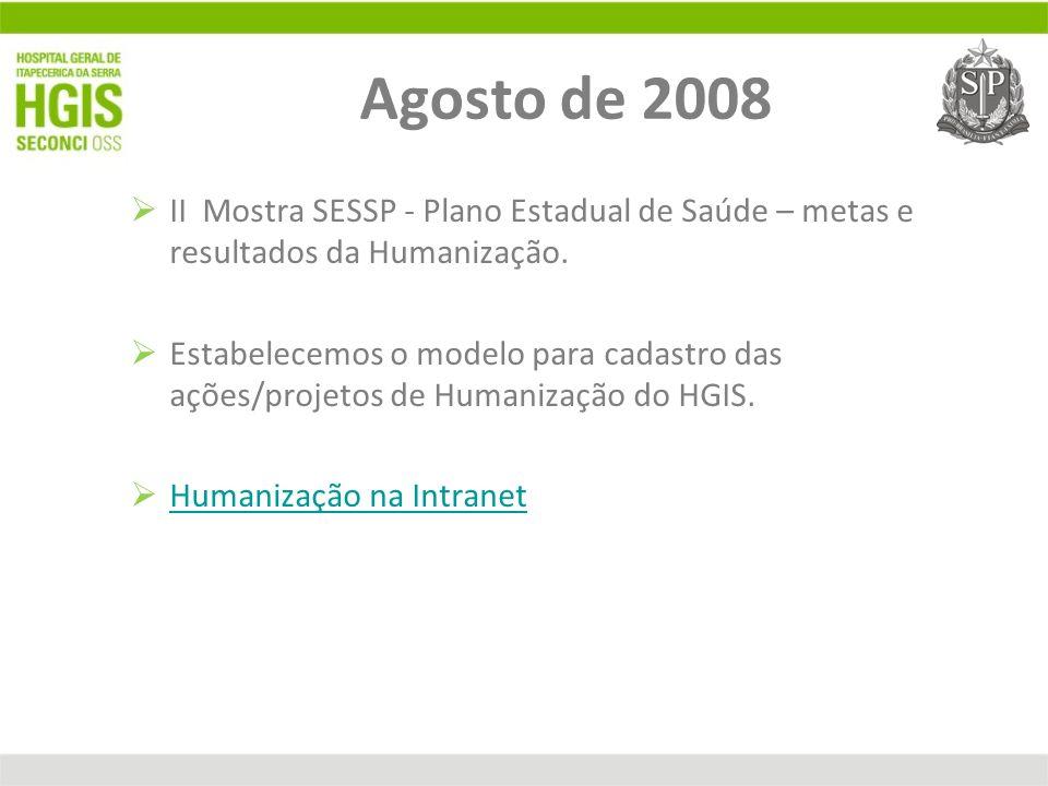 Agosto de 2008 II Mostra SESSP - Plano Estadual de Saúde – metas e resultados da Humanização.