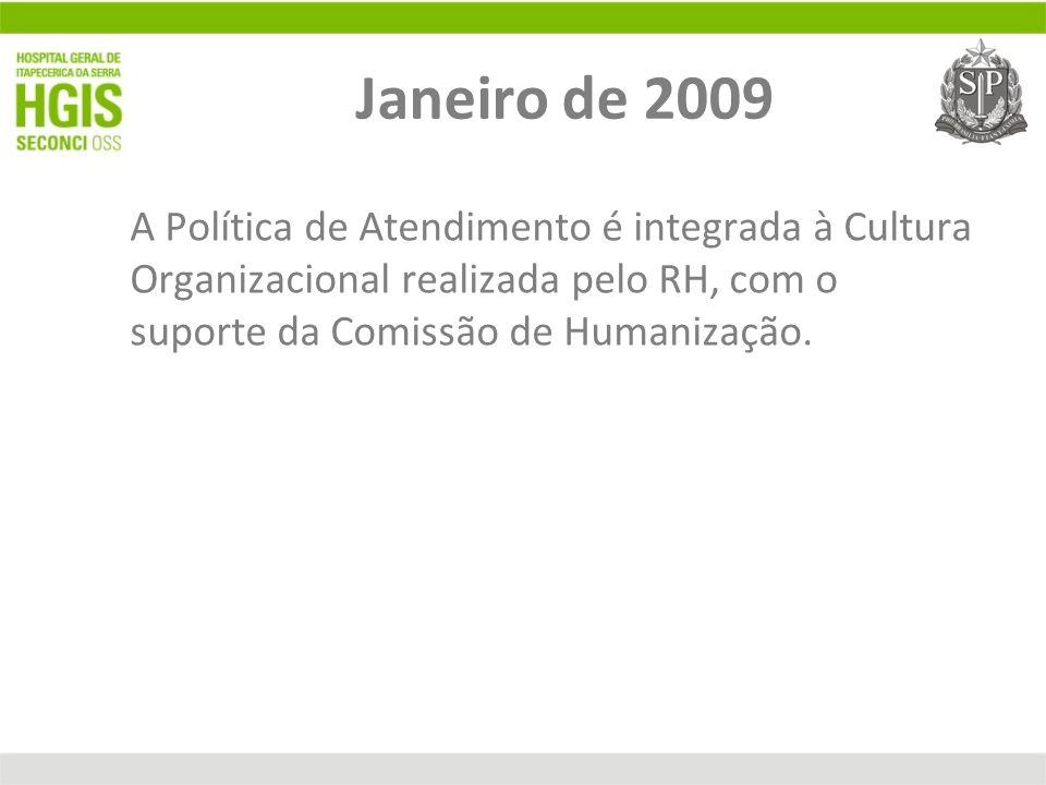 Janeiro de 2009 A Política de Atendimento é integrada à Cultura Organizacional realizada pelo RH, com o suporte da Comissão de Humanização.