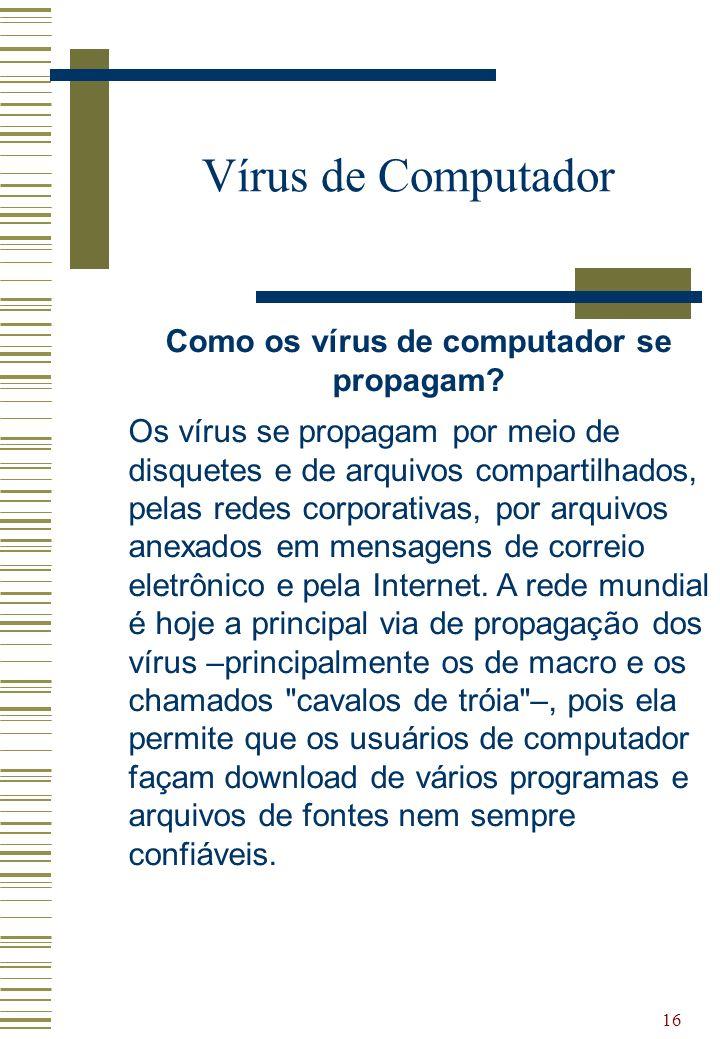 Como os vírus de computador se propagam