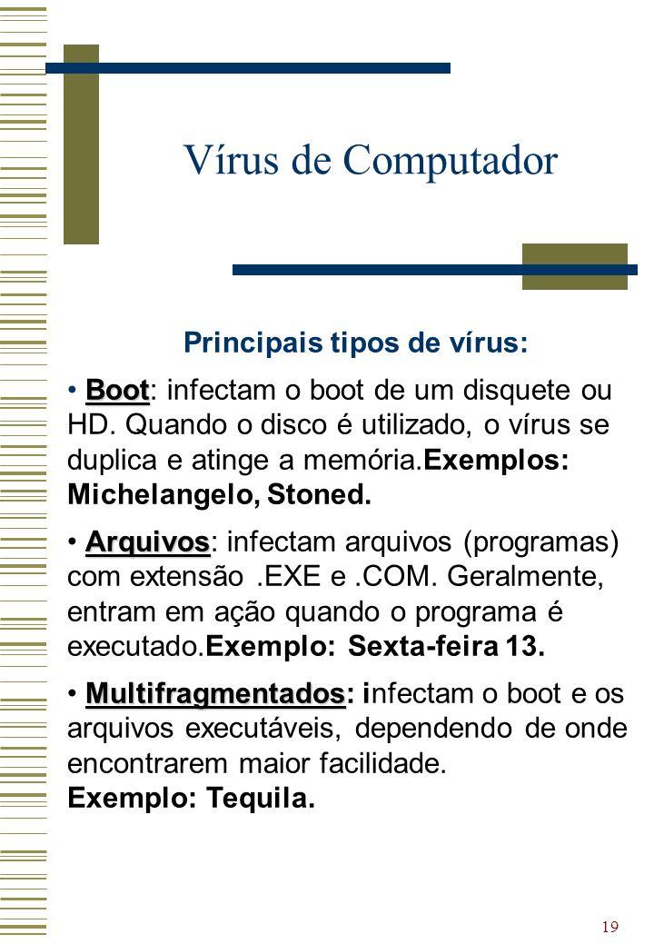 Principais tipos de vírus: