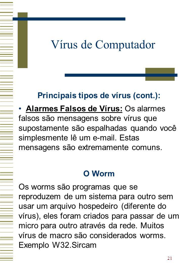 Principais tipos de vírus (cont.):