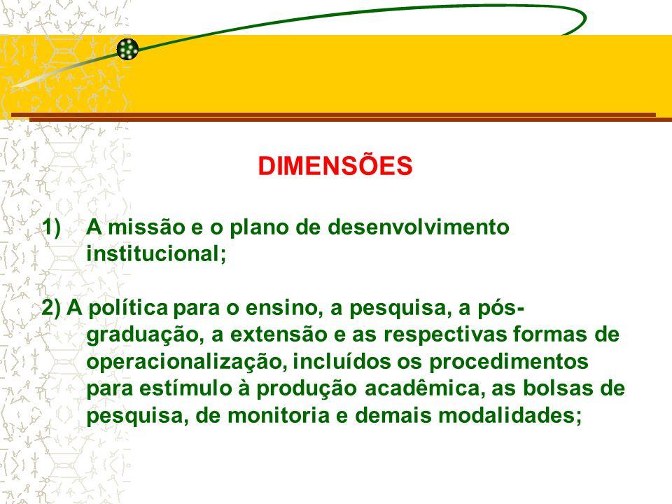 DIMENSÕES A missão e o plano de desenvolvimento institucional;