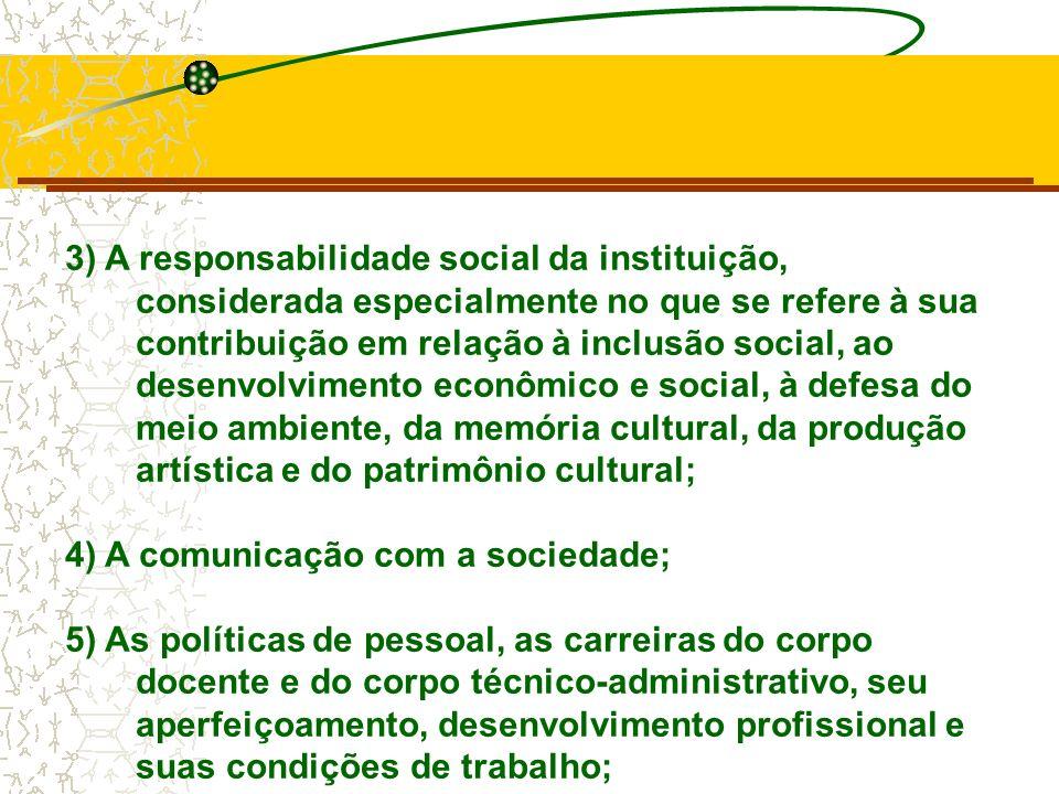3) A responsabilidade social da instituição, considerada especialmente no que se refere à sua contribuição em relação à inclusão social, ao desenvolvimento econômico e social, à defesa do meio ambiente, da memória cultural, da produção artística e do patrimônio cultural;