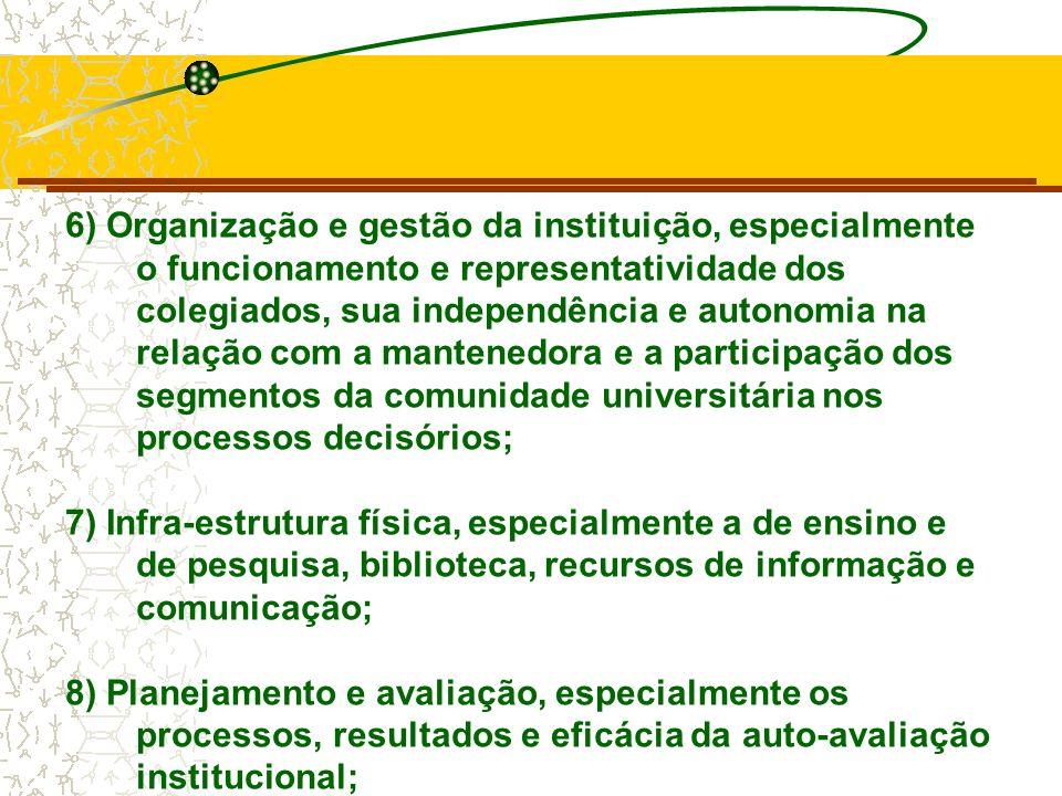6) Organização e gestão da instituição, especialmente o funcionamento e representatividade dos colegiados, sua independência e autonomia na relação com a mantenedora e a participação dos segmentos da comunidade universitária nos processos decisórios;