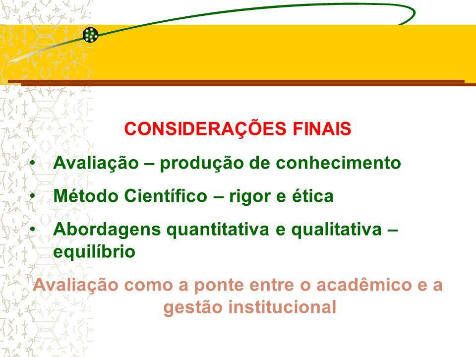 Avaliação como a ponte entre o acadêmico e a gestão institucional