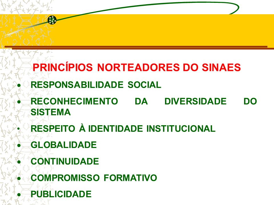PRINCÍPIOS NORTEADORES DO SINAES
