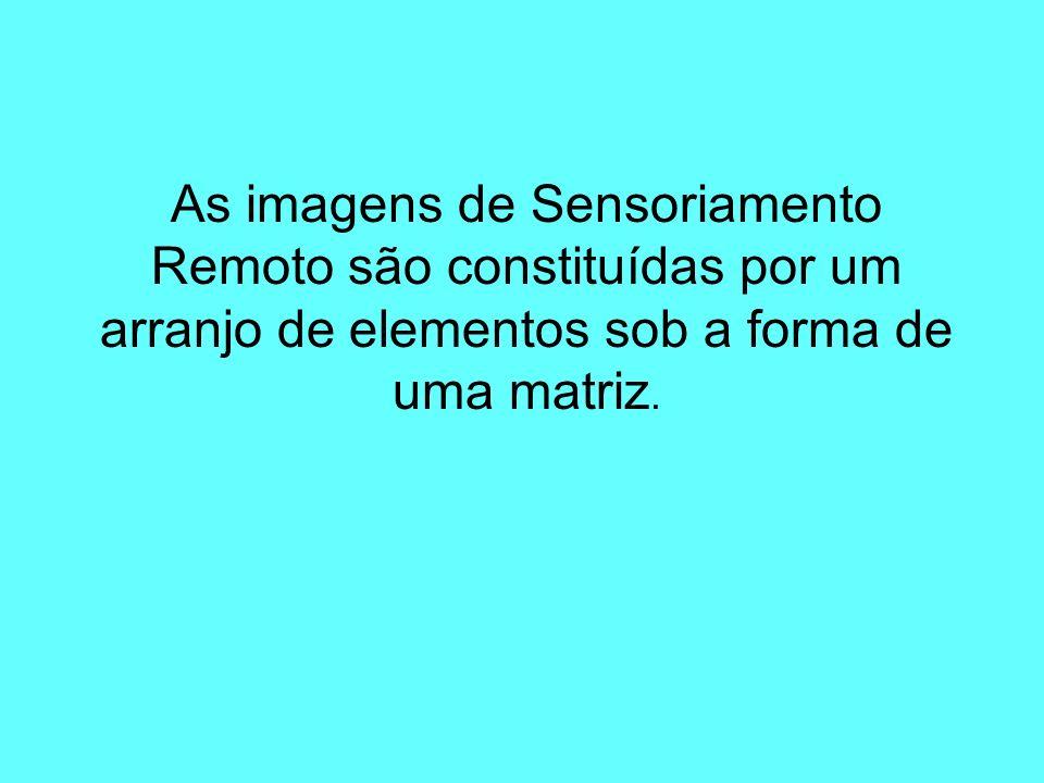As imagens de Sensoriamento Remoto são constituídas por um arranjo de elementos sob a forma de uma matriz.