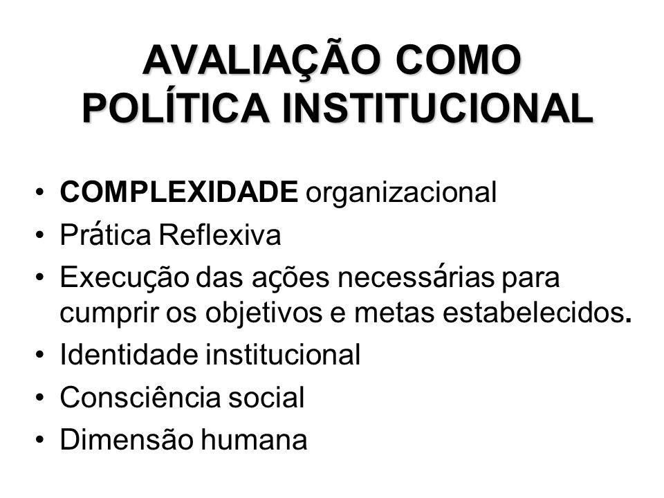 AVALIAÇÃO COMO POLÍTICA INSTITUCIONAL