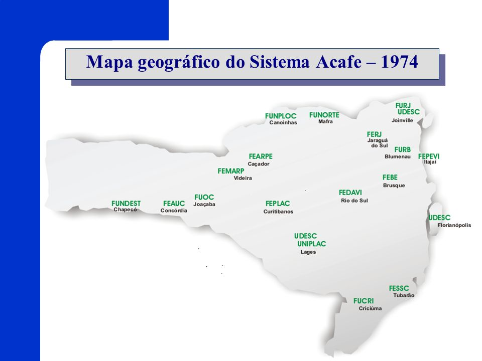 Mapa geográfico do Sistema Acafe – 1974