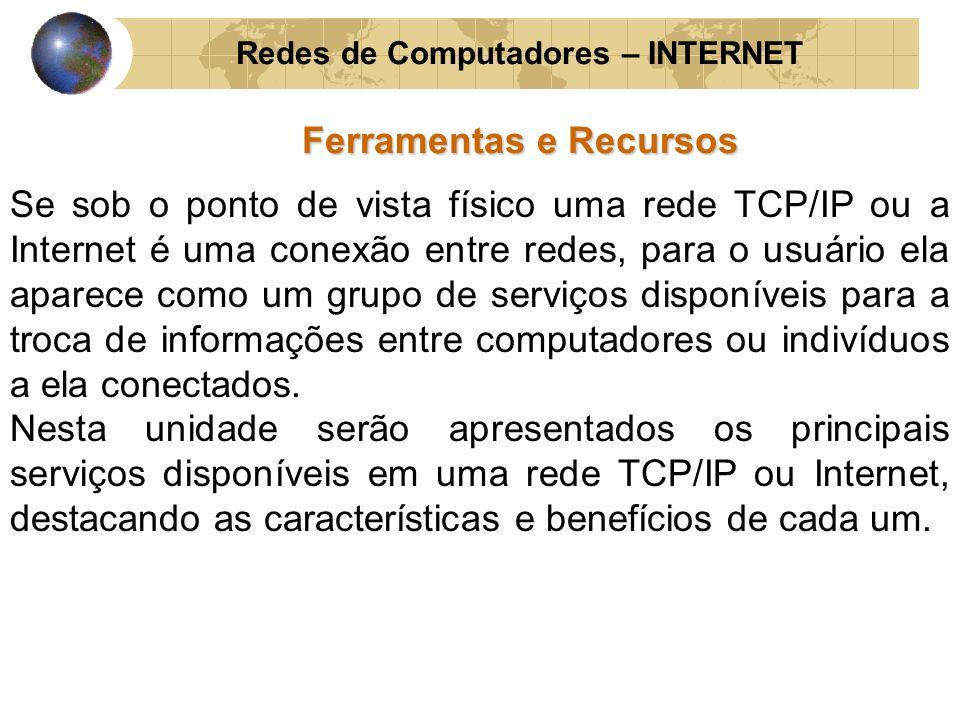 Redes de Computadores – INTERNET Ferramentas e Recursos