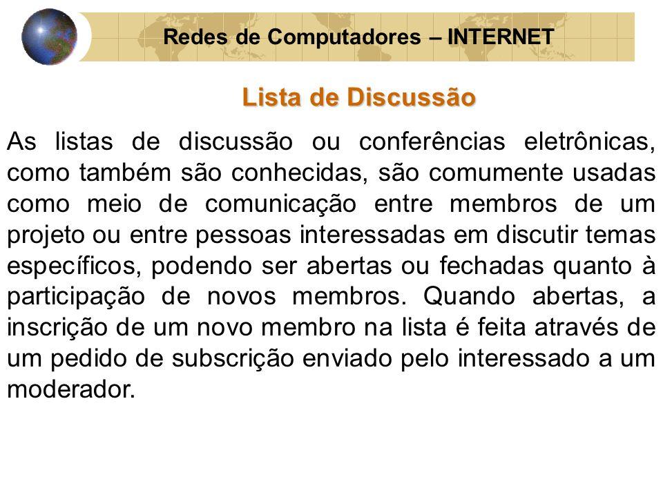 Redes de Computadores – INTERNET