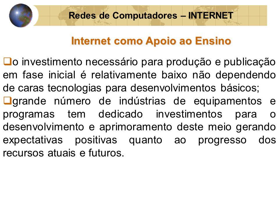 Redes de Computadores – INTERNET Internet como Apoio ao Ensino