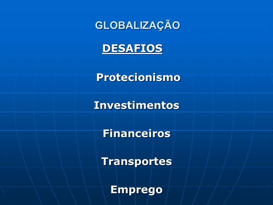 GLOBALIZAÇÃO DESAFIOS Protecionismo Investimentos Financeiros Transportes Emprego