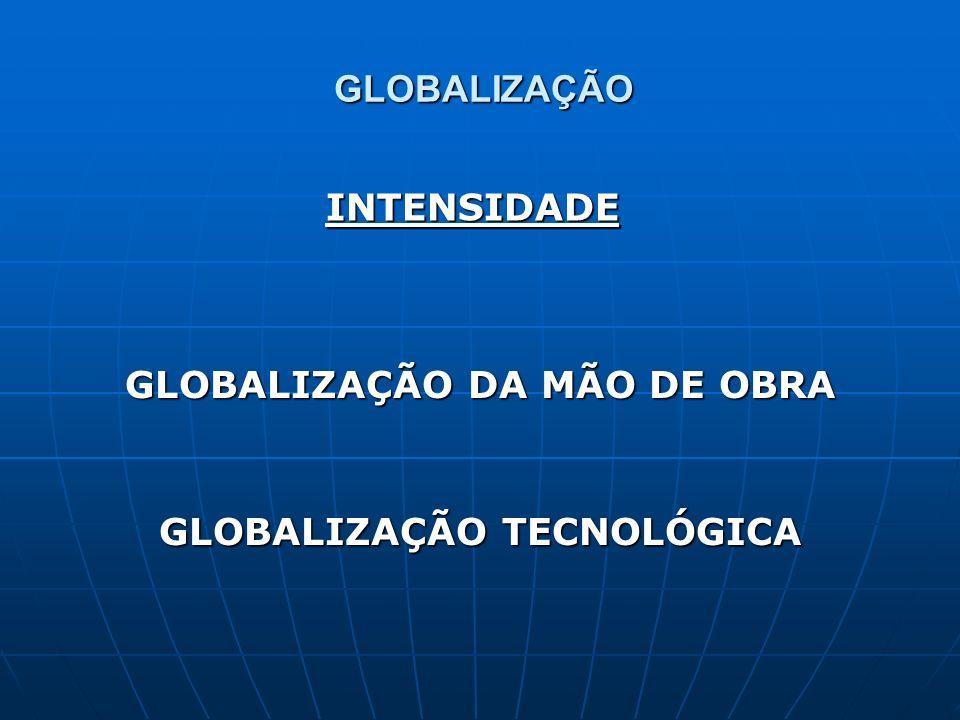 GLOBALIZAÇÃO DA MÃO DE OBRA GLOBALIZAÇÃO TECNOLÓGICA