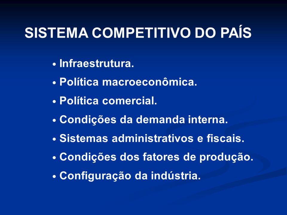 SISTEMA COMPETITIVO DO PAÍS