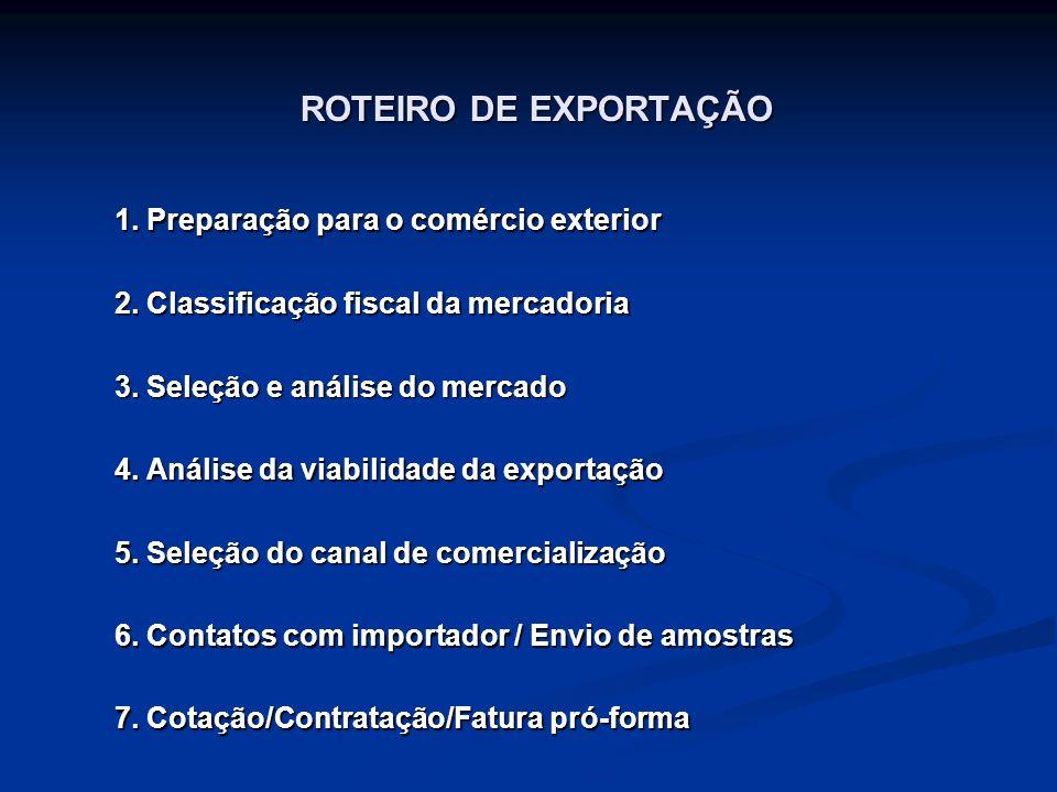 ROTEIRO DE EXPORTAÇÃO 1. Preparação para o comércio exterior