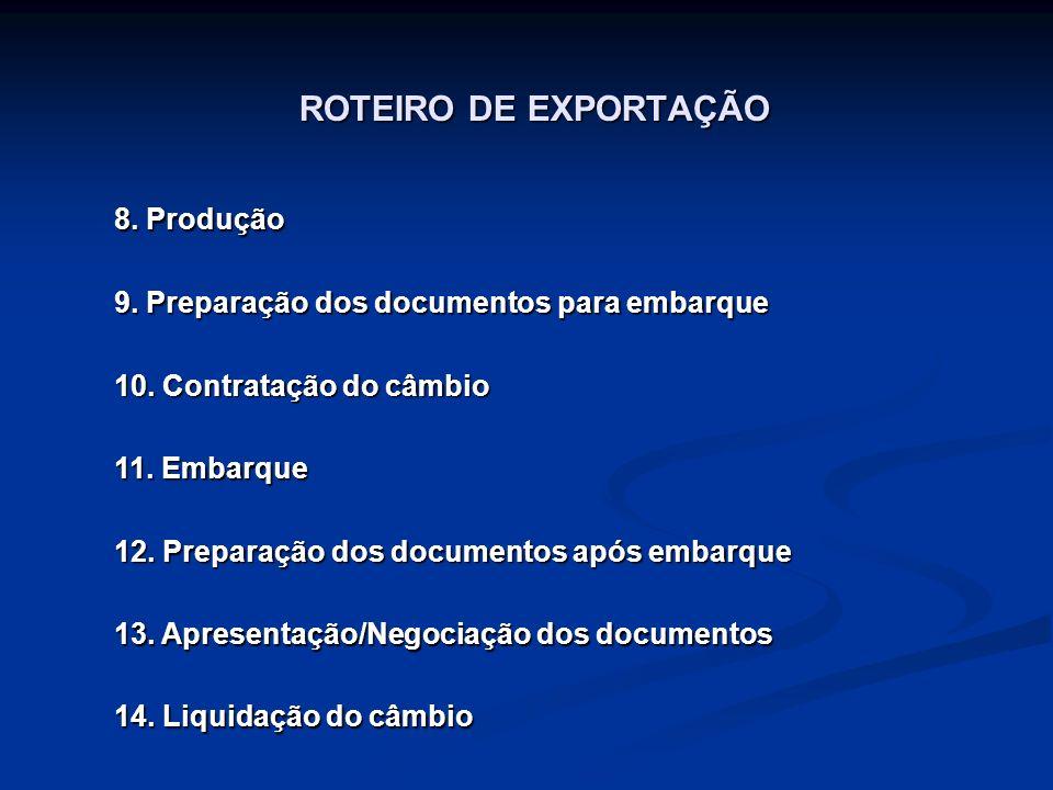 ROTEIRO DE EXPORTAÇÃO 8. Produção