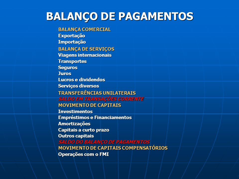 BALANÇO DE PAGAMENTOS BALANÇA COMERCIAL Exportação Importação