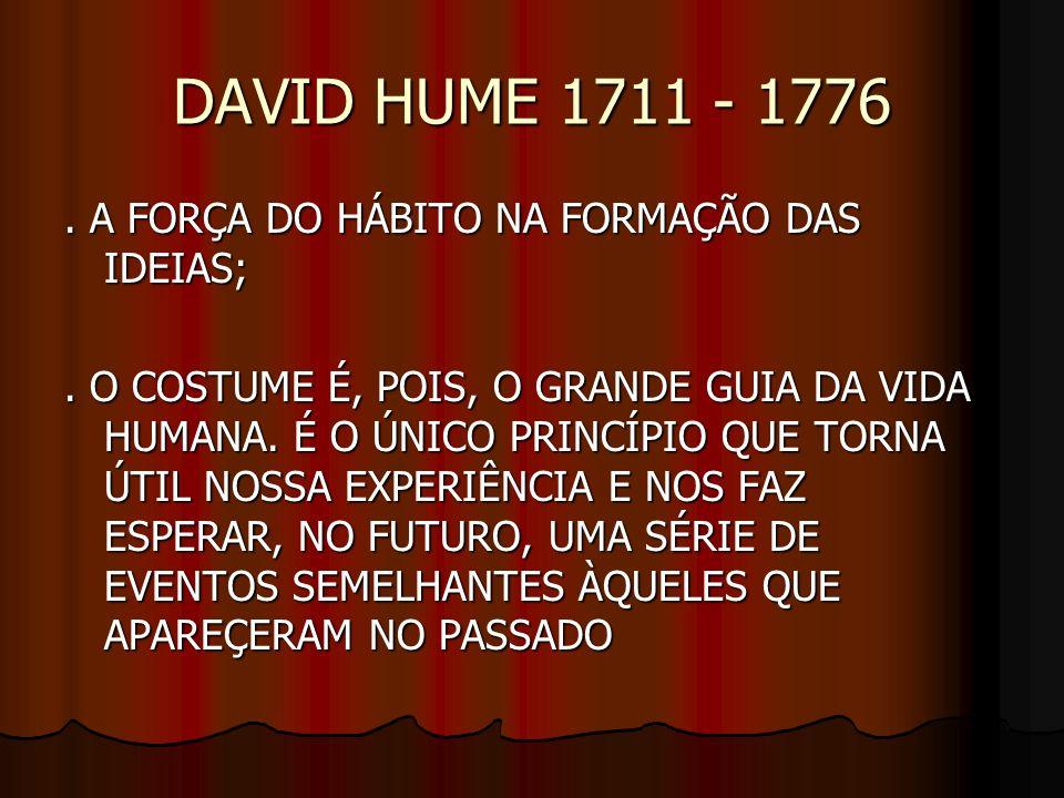 DAVID HUME 1711 - 1776 . A FORÇA DO HÁBITO NA FORMAÇÃO DAS IDEIAS;