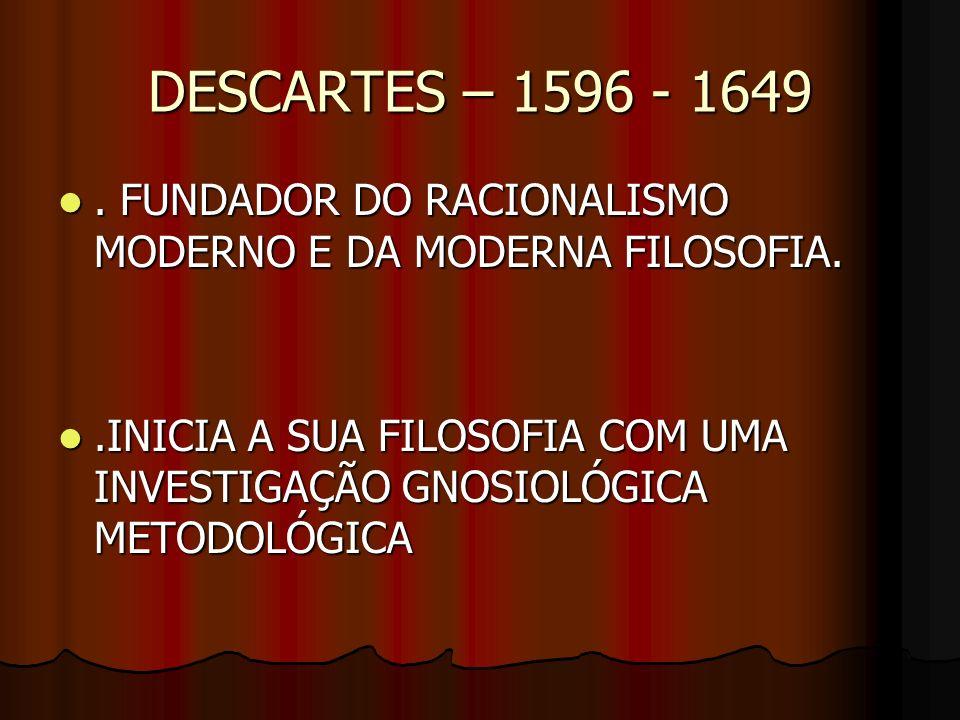 DESCARTES – 1596 - 1649 . FUNDADOR DO RACIONALISMO MODERNO E DA MODERNA FILOSOFIA.