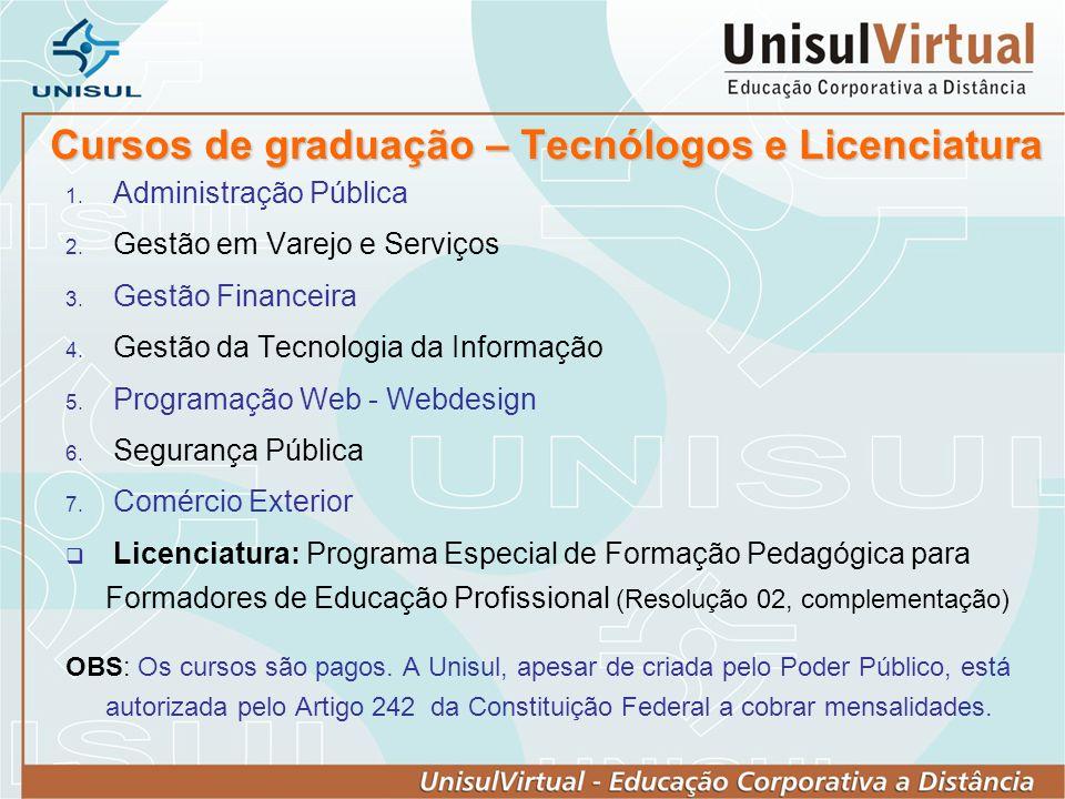 Cursos de graduação – Tecnólogos e Licenciatura