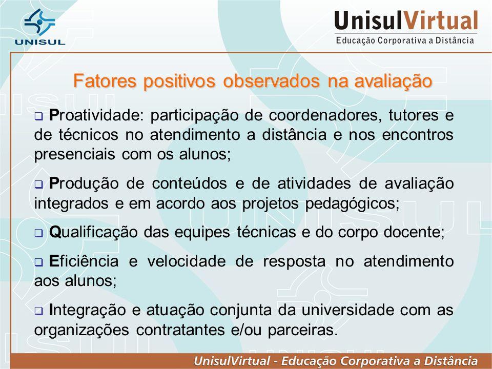 Fatores positivos observados na avaliação