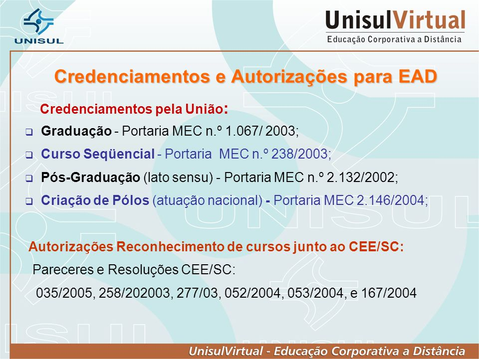 Credenciamentos e Autorizações para EAD