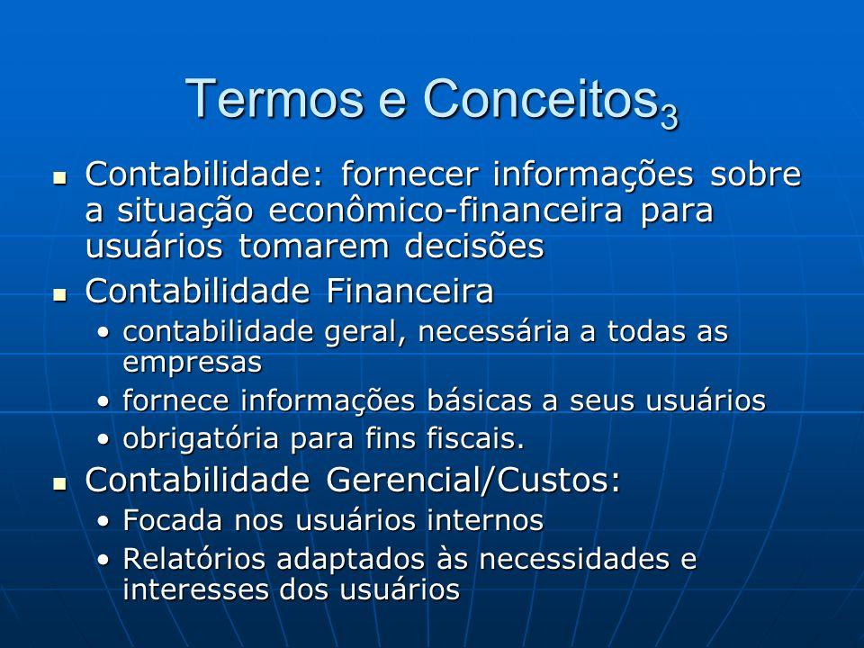Termos e Conceitos3 Contabilidade: fornecer informações sobre a situação econômico-financeira para usuários tomarem decisões.