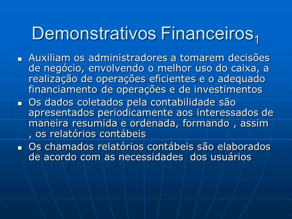 Demonstrativos Financeiros1