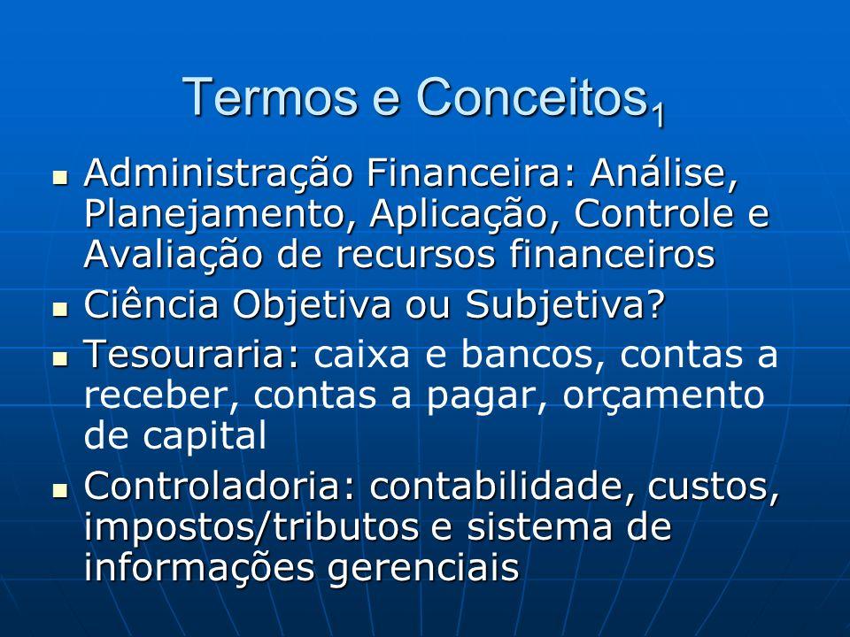 Termos e Conceitos1 Administração Financeira: Análise, Planejamento, Aplicação, Controle e Avaliação de recursos financeiros.