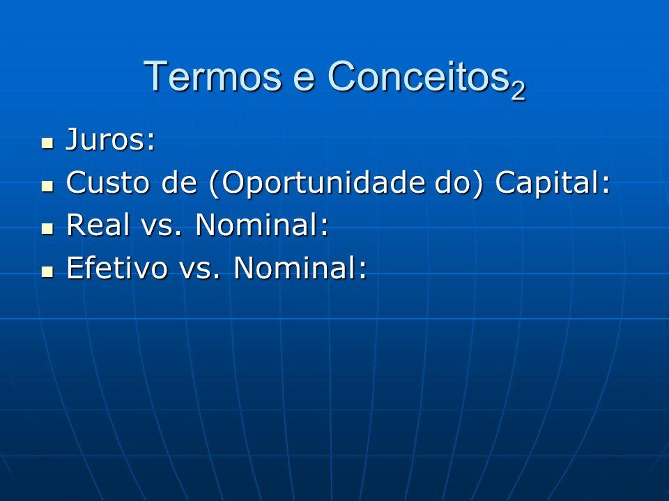 Termos e Conceitos2 Juros: Custo de (Oportunidade do) Capital: