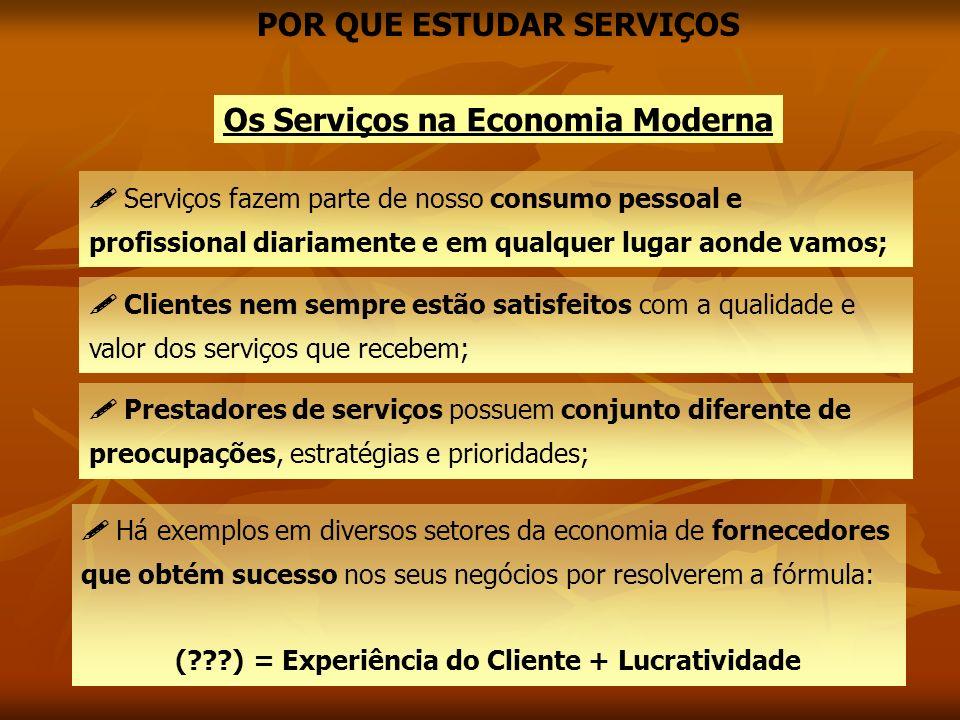 POR QUE ESTUDAR SERVIÇOS Os Serviços na Economia Moderna