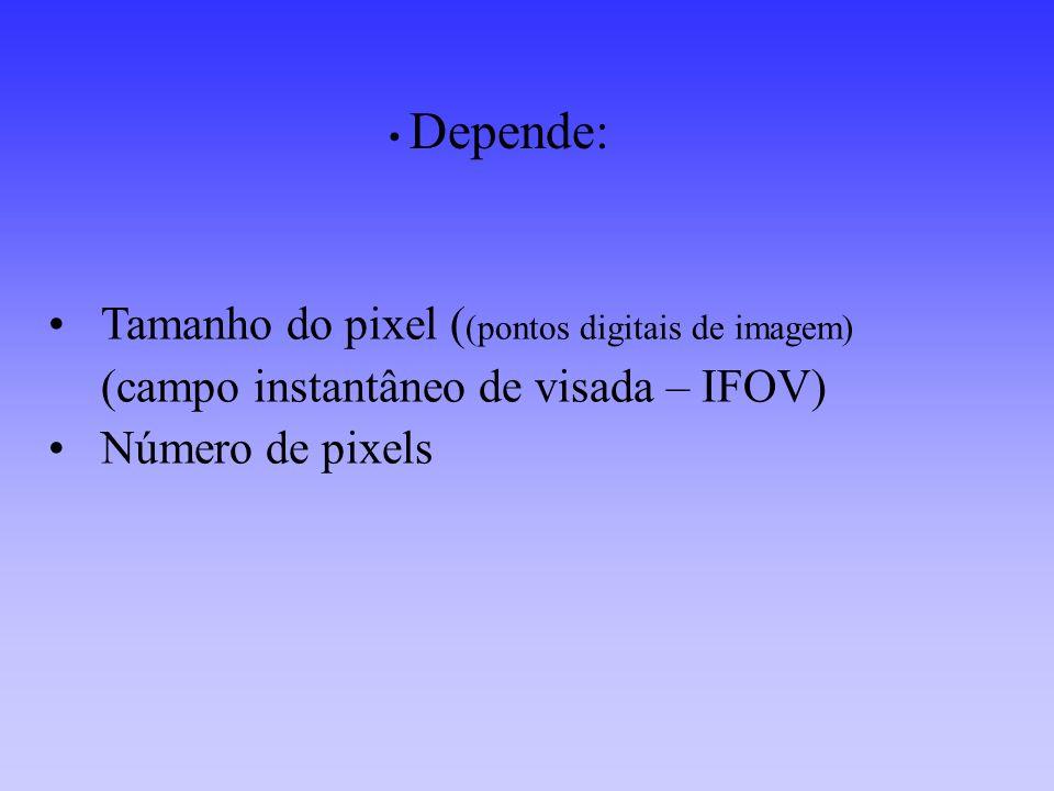Depende: Tamanho do pixel ((pontos digitais de imagem) (campo instantâneo de visada – IFOV) Número de pixels.