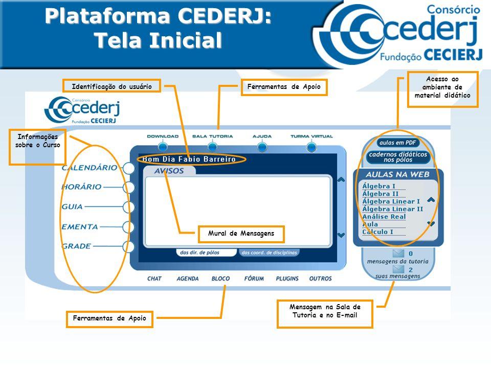 Plataforma CEDERJ: Tela Inicial