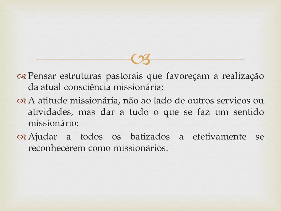 Pensar estruturas pastorais que favoreçam a realização da atual consciência missionária;