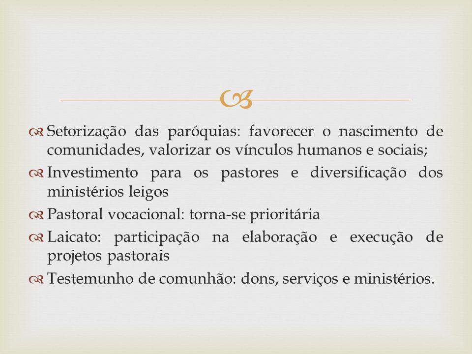 Setorização das paróquias: favorecer o nascimento de comunidades, valorizar os vínculos humanos e sociais;