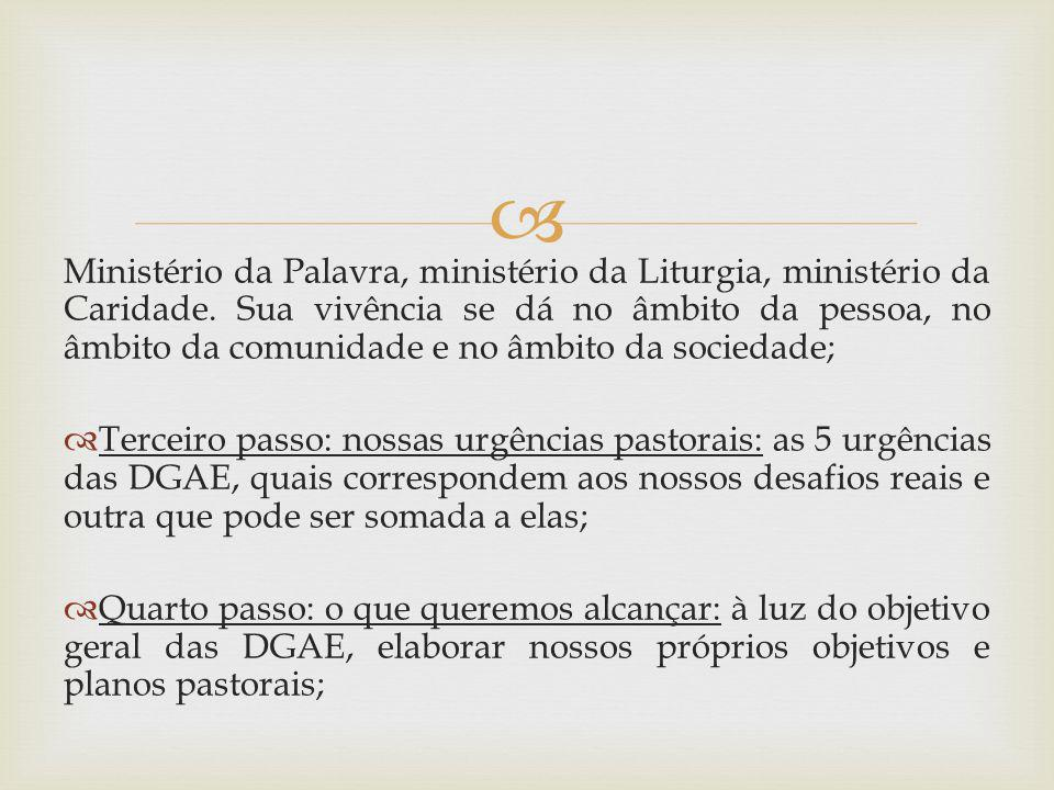 Ministério da Palavra, ministério da Liturgia, ministério da Caridade