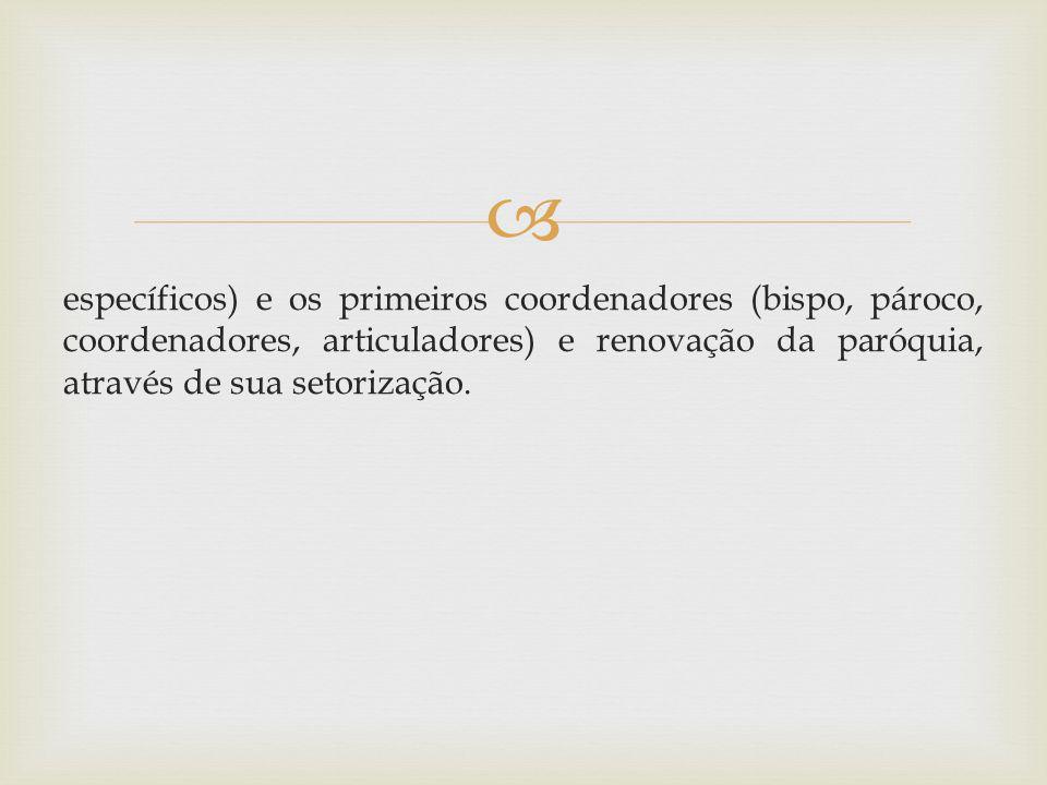 específicos) e os primeiros coordenadores (bispo, pároco, coordenadores, articuladores) e renovação da paróquia, através de sua setorização.