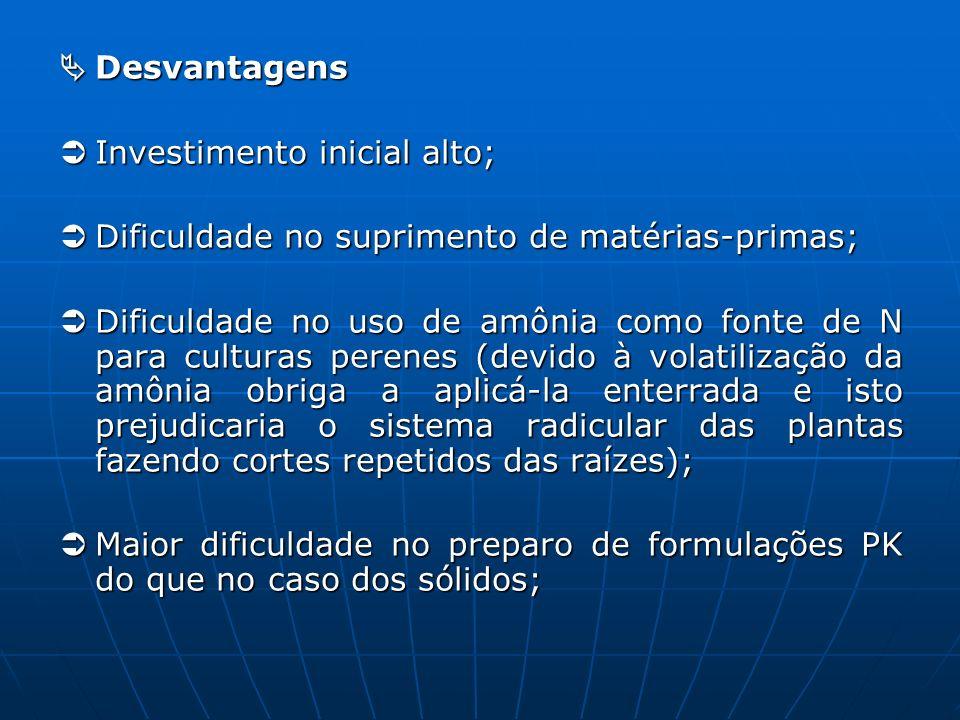  Desvantagens  Investimento inicial alto;  Dificuldade no suprimento de matérias-primas;
