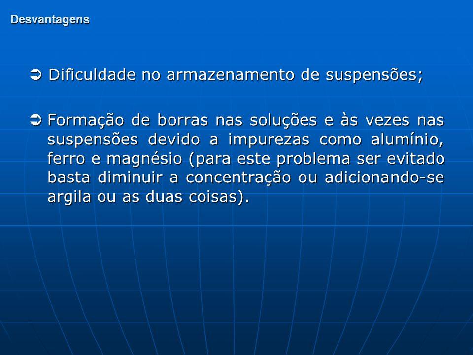  Dificuldade no armazenamento de suspensões;
