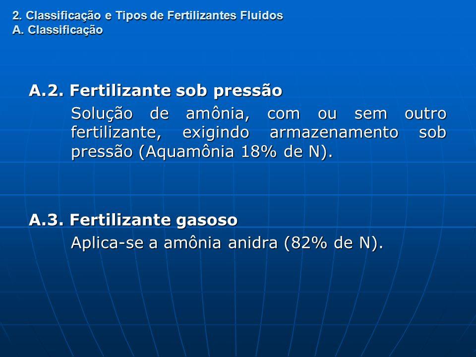 2. Classificação e Tipos de Fertilizantes Fluidos A. Classificação