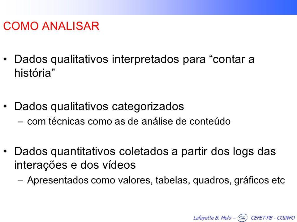 Dados qualitativos interpretados para contar a história