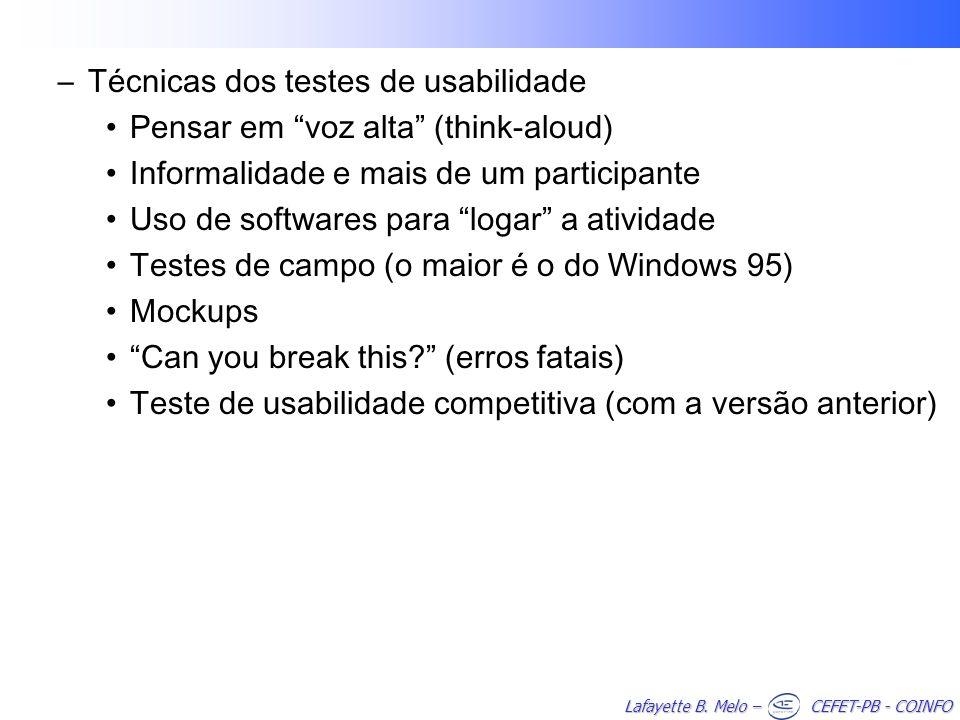 Técnicas dos testes de usabilidade